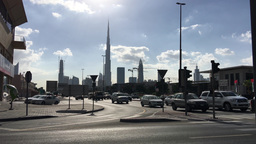 DUBAI - NOVEMBER 22, 2015: Cars in Dubai traffic. Traffic is a major issue in th Live Action