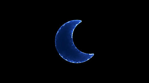 Symbol moon. Blue Electric Glow Storm. looped video. Alpha channel black Animation