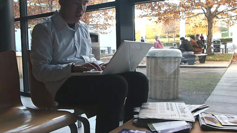 Portrait of Businessman in Office with Laptop Computer Footage