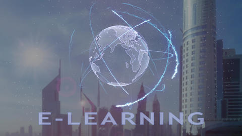 E-learning text with 3d hologram of the planet Earth against the backdrop of the Footage