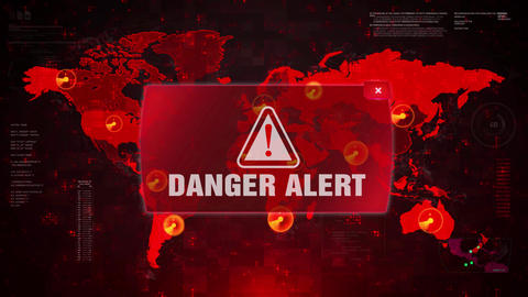 Danger Alert Warning Attack on Screen World Map Loop Motion Footage