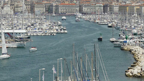 Yachts and boats in harbor of Marseille, historic landmark, tourism sightseeing ビデオ