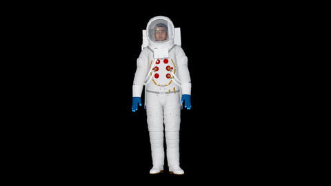 cosmonaut goes and stands,animation,transparent background Footage