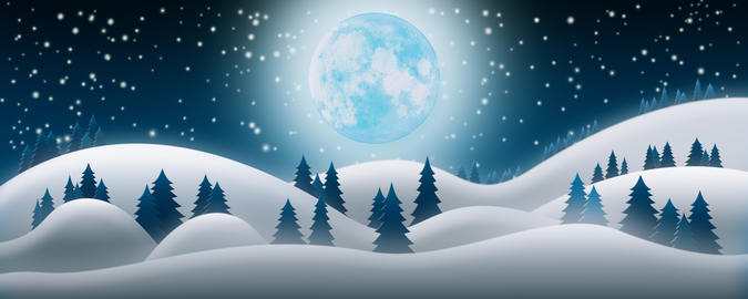 Christmas Night Background. The Snow Fields, Full Moon and Starry Sky 3D Render Fotografía