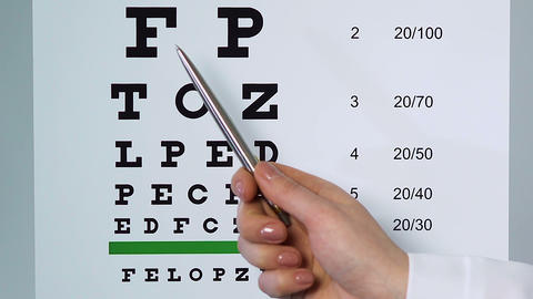 Doctor examining patient sight pointing at medical table with underlined letters Footage