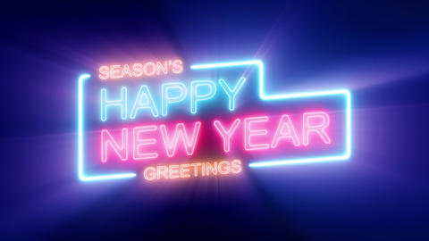 Happy New Year's Eve Celebration On Neon Sign Loop Animation