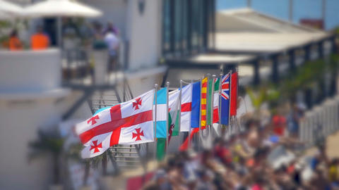 International Flags At Sporting Event Live Action