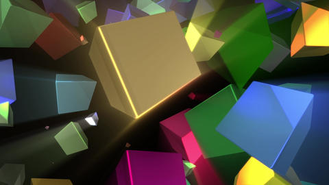Psychedelic Colorful Shine Rays Rotating Cubes Abstract Motion Background Loop 2 Animation