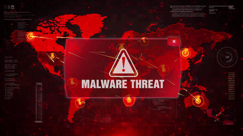 MALWARE THREAT Alert Warning Attack on Screen World Map Loop Motion Live Action