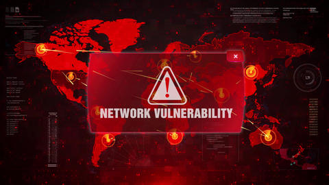 Network Vulnerability Alert Warning Attack on Screen World Map Loop Motion Live Action