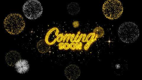Coming Soon Golden Text Blinking Particles with Golden Fireworks Display Footage