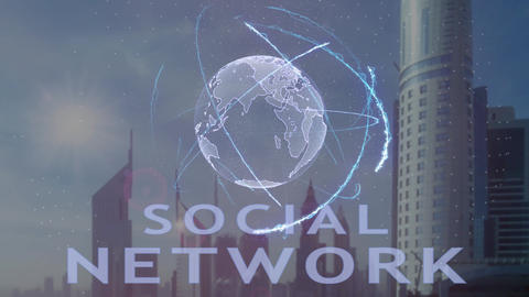 Social network text with 3d hologram of the planet Earth against the backdrop of Live Action