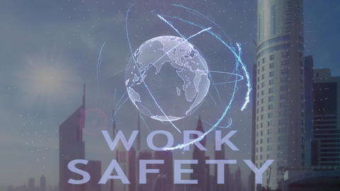 Work safety text with 3d hologram of the planet Earth against the backdrop of Footage