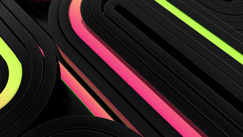 Abstract black perspective loop background with color neon lines Footage