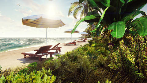 Palm trees over Tropical island with Exotic white beach in at sunny day with Animation