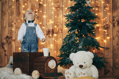 Caucasian little boy with Christmas lights and decorations in the background Photo