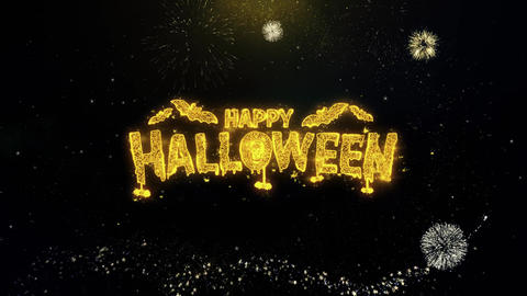 Happy Halloween Written Gold Particles Exploding Fireworks Display Live Action