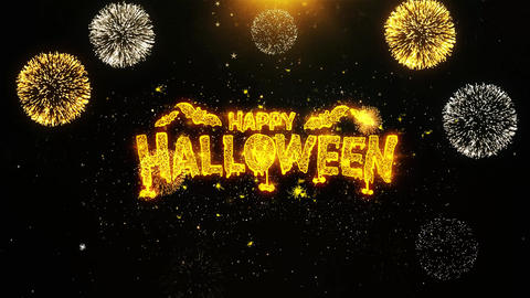 Happy Halloween Wishes Greetings card, Invitation, Celebration Firework Looped Live Action