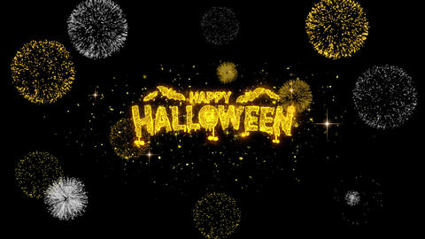 Happy Halloween Golden Text Blinking Particles with Golden Fireworks Display Live Action