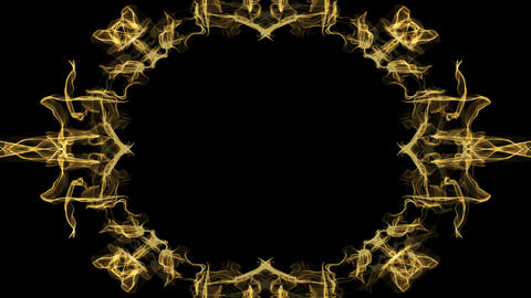 Animated festive golden frame in fractal design, oval borders on black Animation
