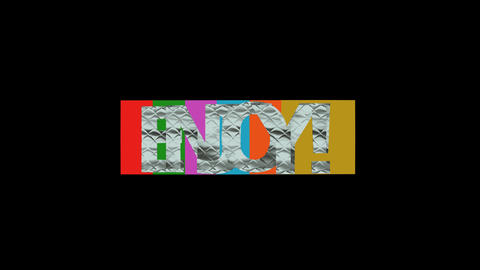 Enjoy inscription animated letters in multicolored squares, metallic textured Animation