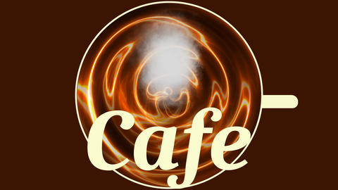 Banner cafe, cup of hot coffee with a cloud of steam, top view, animated GIF