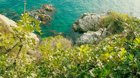 Rocky Mediterranean coast in Catalonia Footage