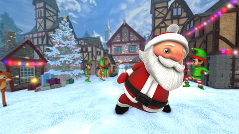 Cute Santa dancing salsa in a Christmas village. Seamless funny Christmas CG動画素材