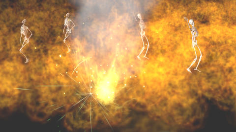 Skeletons Dancing in Fire: Looping Animation