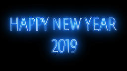 Happy New Year 2019 Neon Sign Footage