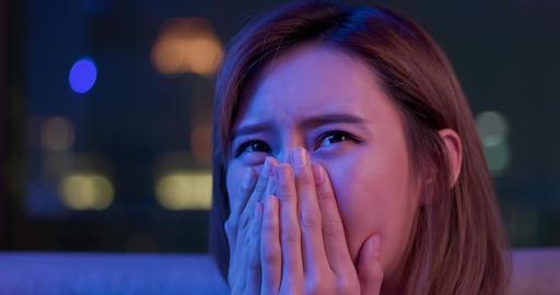 woman watch intense movie Footage