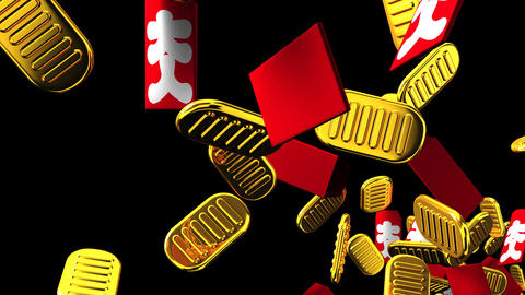 Oval gold coins and bags on black background CG動画