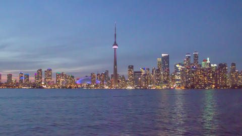 Toronto from Lake Ontario- Downtown Skyline Footage