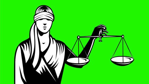 Lady Blindfold Holding Up Scales of Justice Retro 2D Animation Animación