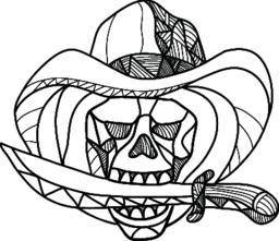 Cowboy Pirate Skull Biting Dagger Mosaic ベクター