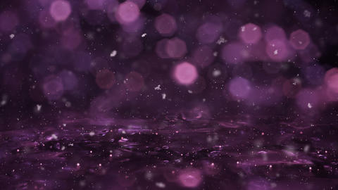 Winter Magenta Motion background lights snow falling on ice defocused bokeh loop Animation