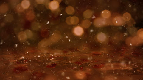 Winter Golden Motion background lights, snow falling on ice defocused bokeh loop Animation