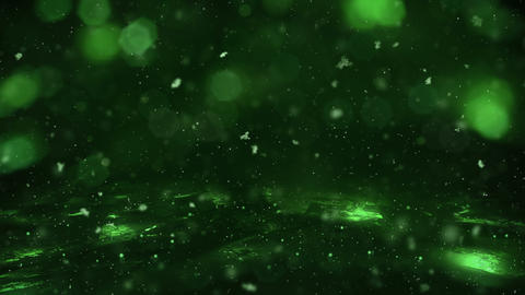 Winter Green Motion background lights, snow falling on ice defocused bokeh loop Animation
