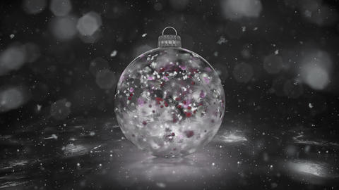 Christmas White Ice Glass Bauble Decoration snow colorful petals background loop Animation