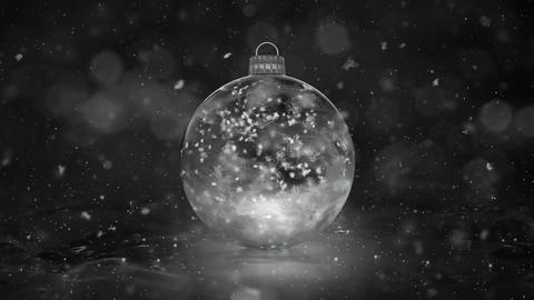 Christmas New Year White Ice Glass Bauble Decoration snowflakes background loop Animation