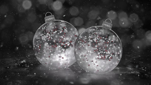 Two Christmas White Ice Glass Baubles Decorations snow red balls background loop Animation