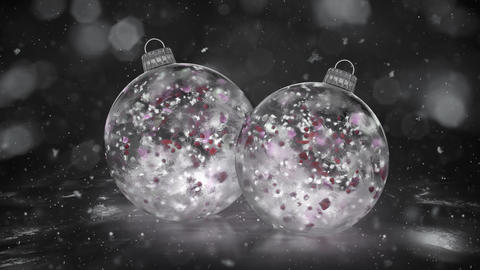Two Christmas White Ice Glass Baubles snowflakes colorful petals background loop Animation