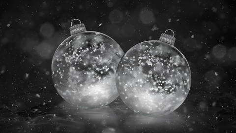 Two Christmas New Year White Ice Glass Baubles Decorations snow background loop Animation
