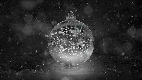 Christmas Rotating White Ice Glass Bauble snowflakes background loop Animation