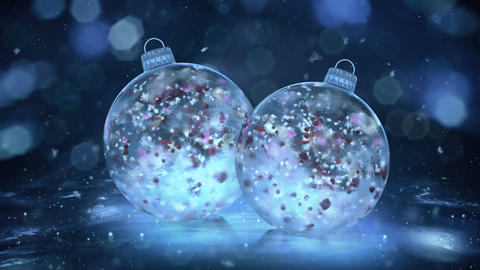 Two Christmas Blue Ice Glass Baubles snowflakes colorful petals background loop Animation