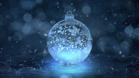 Christmas Rotating Blue Ice Glass Bauble Decoration snowflakes background loop Animation