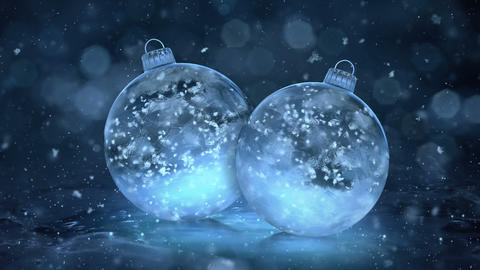 Two Rotating Christmas Blue Ice Glass Baubles snowflakes background loop Animation