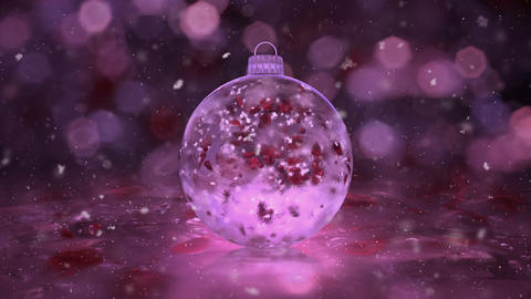 Christmas Pink Ice Glass Bauble Decoration snowflakes red petals background loop Animation