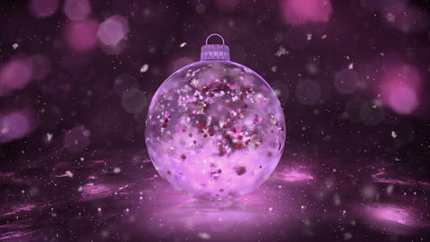 Christmas Pink Ice Glass Bauble Decoration snow colorful petals background loop Animation
