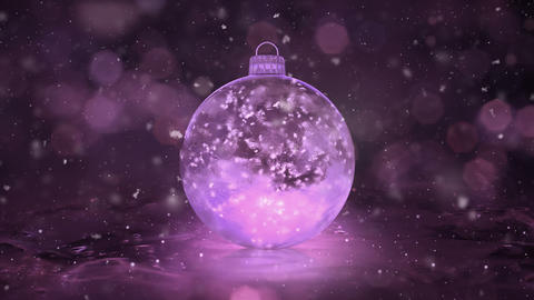 Christmas New Year Pink Ice Glass Bauble Decoration snowflakes background loop Animation